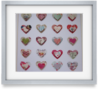 Hearts: Individually crafted hearts, carefully mounted to create a unique piece of art for a loved one or a little treat for you.