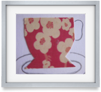 Time for Tea: Dinky cups carefully arranged with a hand drawn saucer to create a wonderfully bespoke piece of art. Perfect as a gift or a treat for you.